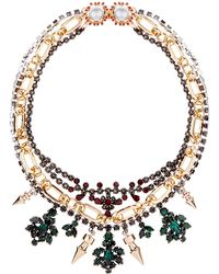 Mawi - Triple Chain Crystal Necklace - Lyst