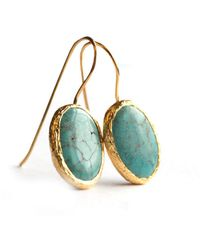 Toosis Oval Turquoise Earrings in Silver Coated with 18ka - Lyst