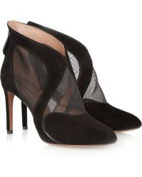 Alaïa Suede and Mesh Ankle Boots - Lyst