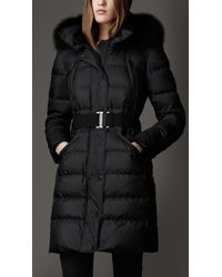 Burberry Fur Trim Puffer Coat - Lyst