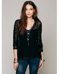 Free People Directions in Pointelle Wrap Sweater - Lyst