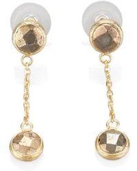 Toosis Pyrite Stone Dangle Earrings - Lyst