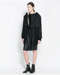 Zara Black Combined Coat - Lyst