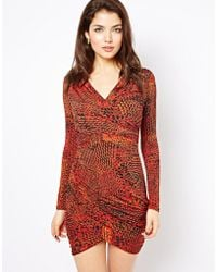 House of Dereon - Printed Wrap Dress - Lyst