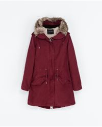 Zara Hooded Cotton Parka - Lyst