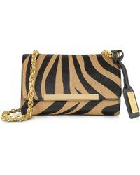 Badgley Mischka - Justine Zebra Haircalf Handbag Black Nutmeg - Lyst