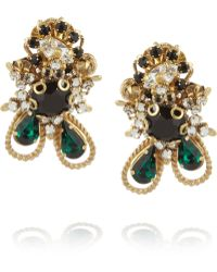 Bijoux Heart - Empire Goldplated Swarovski Crystal Clip Earrings - Lyst