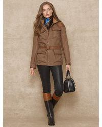Ralph Lauren Blue Label - Leather-Trim Tweed Jacket - Lyst