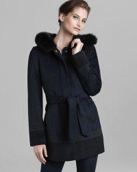 Ellen Tracy - Coat Belted with Fox Fur Trim - Lyst