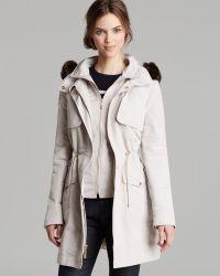 Ellen Tracy - Raincoat - Techno Faux Fur Trim - Lyst