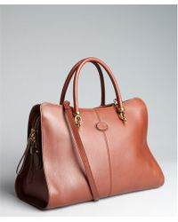 Tod's Brown Leather Saddle Convertible Top Handle Bag - Lyst