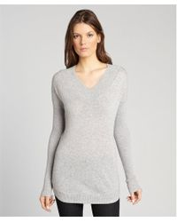 Autumn Cashmere Sweatshirt Grey Cashmere Ribbed Vneck Sweater - Lyst