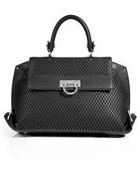 Ferragamo Laser Cut Leather Sofia Bag In Black - Lyst
