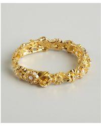 Kenneth Jay Lane Gold And Crystal Flower Snap Bracelet - Lyst