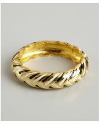 Kenneth Jay Lane Gold And Striped Snap Bangle - Lyst