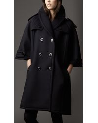 Burberry Bonded Wool Cashmere Capesleeve Coat - Lyst