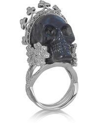 Lydia Courteille - Skull 18karat White Gold Labradorite and Diamond Ring - Lyst