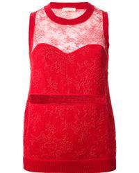 Nina Ricci Semi-Sheer Lace Top - Lyst