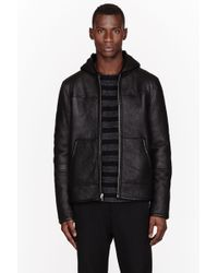 T By Alexander Wang Black Nubuck Shearling Lined Reversible Hooded Bomber Jacket - Lyst