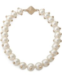 Valentino Pearl Necklace with Studs - Lyst