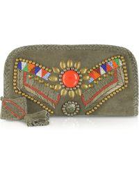 Antik Batik - Kiro Embroidered Suede Wallet Clutch - Lyst