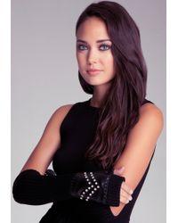 Bebe - Knit Leather Long Gloves - Lyst