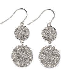Lauren by Ralph Lauren - Silvertone Crystal Pave Double Disc Earrings - Lyst