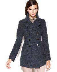Nine West - Double breasted Tweed Pea Coat - Lyst