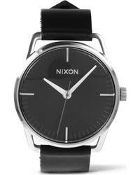Nixon Mellor Black Leather Strap Watch - Lyst