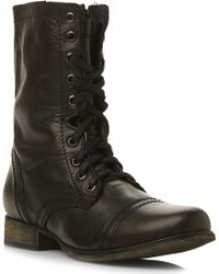 Steve Madden Troopa Leather Work Boots Black - Lyst