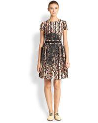 Bottega Veneta Silk Fence Print Dress - Lyst