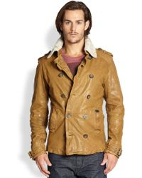 Diesel Langgai Leather Fur Collar Peacoat - Lyst
