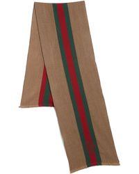 Gucci Woolsilk Herringbone Stripe Scarf - Lyst