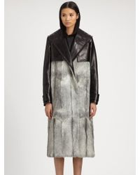 Alexander Wang Goat Fur Leather Trench Coat - Lyst