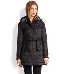 Burberry Brit Belted Quilted Jacket - Lyst