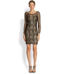 Kay Unger Metallic Lace Dress - Lyst