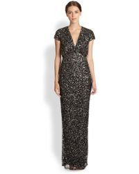 Nicole Miller Sequinedpatterned Tulle Gown - Lyst