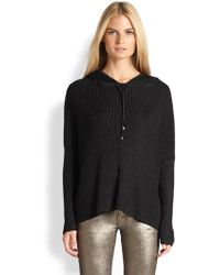 Ralph Lauren Black Label | Metallic Ribbed Hooded Sweater | Lyst