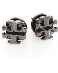 Tory Burch T Logo Small Stud Earrings/Gunmetal - Lyst