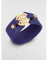Tory Burch Logo Snap Leather Bracelet - Lyst