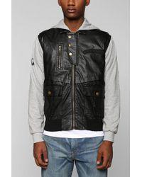 Urban Outfitters Black Apple Fleecesleeve Vegan Leather Jacket - Lyst