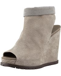 Brunello Cucinelli - Nubuck Beaded-Ankle Wedge - Lyst