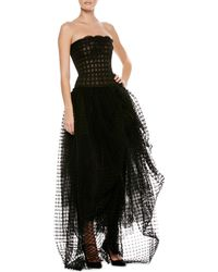 Oscar de la Renta Strapless Lace Tulle Highlow Gown - Lyst