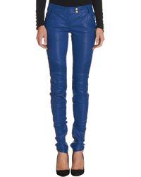 Balmain Leather Biker Jeans - Lyst