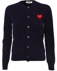 Play Comme des Garçons Play Womens Red Heart Cardigan Navy - Lyst
