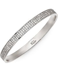Lauren by Ralph Lauren - Silvertone Pave Crystal Bangle Bracelet - Lyst