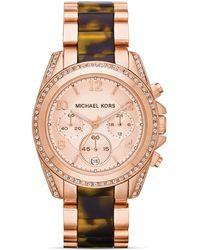 Michael Kors Mid-Size Rose Golden Stainless Steel Blair Chronograph Glitz Watch - Lyst