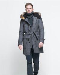 Zara Coat with Fur Hood - Lyst