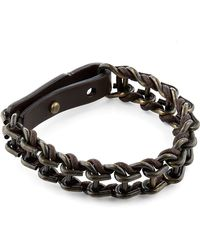 Lanvin Leather and Metal Chain Bracelet black - Lyst