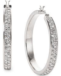 Lauren by Ralph Lauren - Silvertone Pave Crystal Medium Hoop Earrings - Lyst